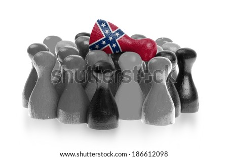 One unique pawn on top of common pawns, confederate flag - stock photo