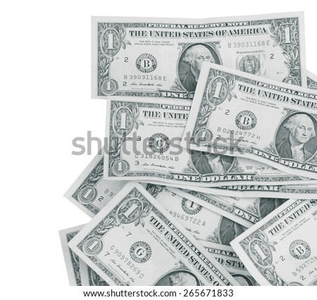 One US dollar bill, black and white images