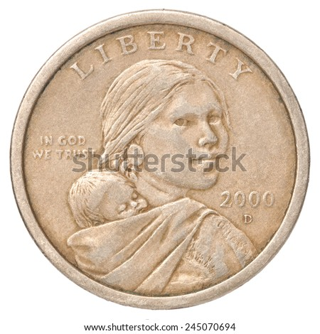 One US dollar coin with the image of mother and child on a white background - stock photo