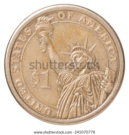 One US dollar coin with the image of the Statue of Liberty on a white background - stock photo