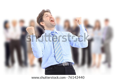 One very happy energetic businessman with his arms raised - stock photo