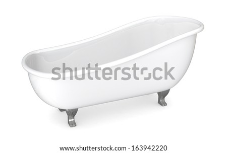 one vintage bathtub on white background (3d render)