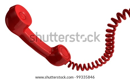 one vintage handset with a spiral cable (3d render)