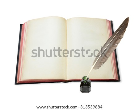 One vintage open book with blank pages and feather in the inkwell isolated on white background - stock photo