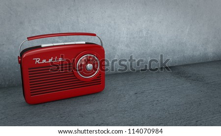 one vintage radio in a dirty room (3d render) - stock photo