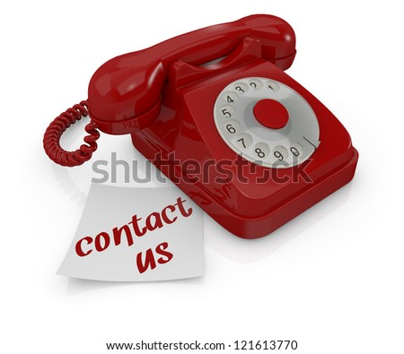 one vintage telephone with a sticky note and text: contact us (3d render) - stock photo