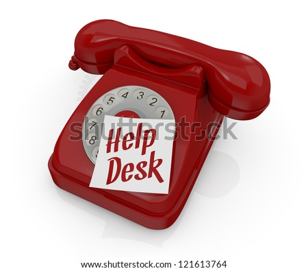 one vintage telephone with a sticky note and text: help desk (3d render) - stock photo