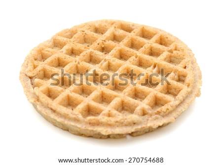 one waffle on white background  - stock photo