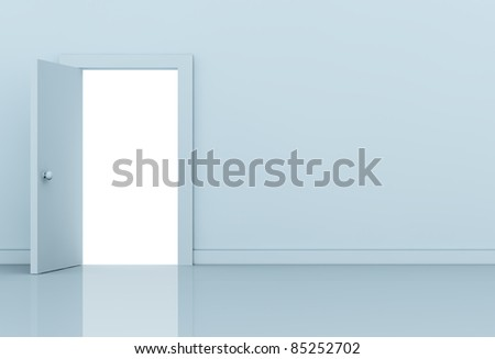 one wall with a open door on left side (3d render) - stock photo