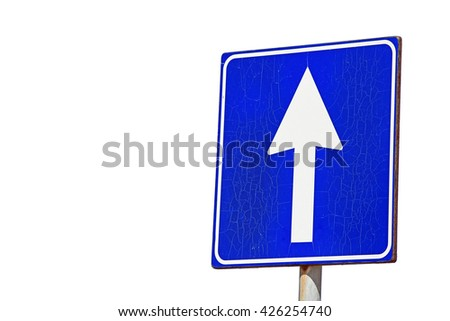 One-way road sign isolated on white background. Choice and decision concept. - stock photo
