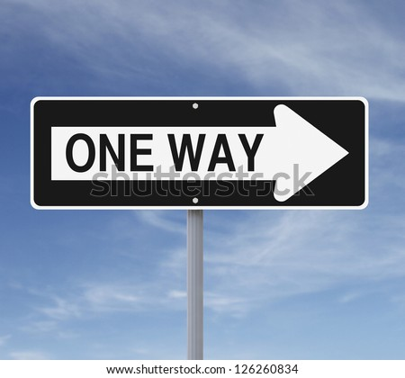 One way sign against a blue sky background - stock photo