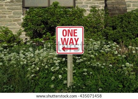 One way sign in front of green shrubs