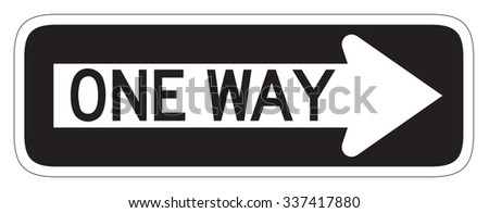 One Way Sign Isolated