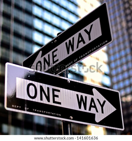 one way street sign tight stock photo 141601636 - shutterstock