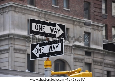 One way street signs in NYC
