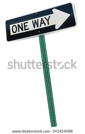 One Way Traffic Sign isolated on white background - stock photo