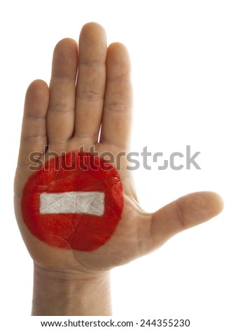 One way traffic sign painted on a hand - stock photo