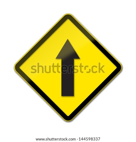 One Way Traffic - Traffic Sign isolated on white background