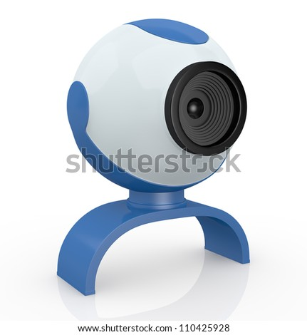 one webcam, used for internet communications (3d render) - stock photo