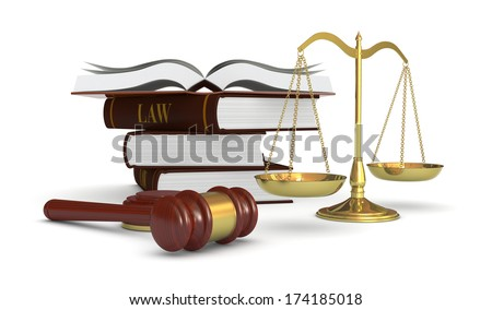 one weight balance with a gavel and a stack of books, concept of law and justice (3d render) - stock photo