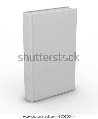 one white book with space for custom text or image (3d render) - stock photo