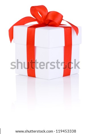 One White boxs tied Red satin ribbon bow Isolated on white background - stock photo