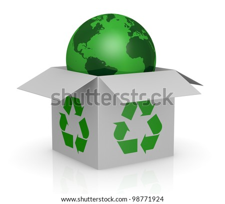 one white carton box with the recycling symbol printed on the sides and a earth globe that goes out from it (3d render) - stock photo