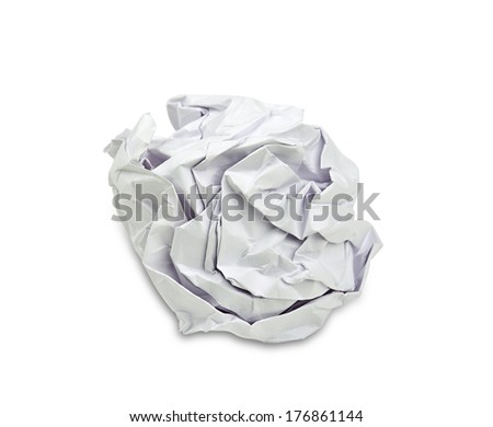 One white crumpled paper ball isolated on a white background, with a soft drop shadow. Clipping path included.  - stock photo