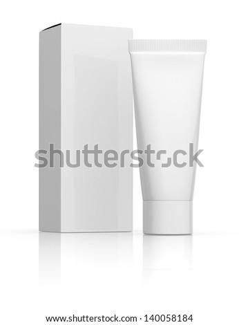 one white tube with a box (3d render) - stock photo