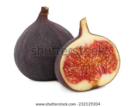 One whole and a half ripe figs isolated on white background - stock photo