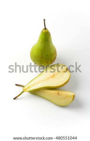 one whole pear, one half a pear and slice