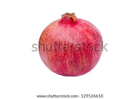 One whole pomegranate on white background - stock photo