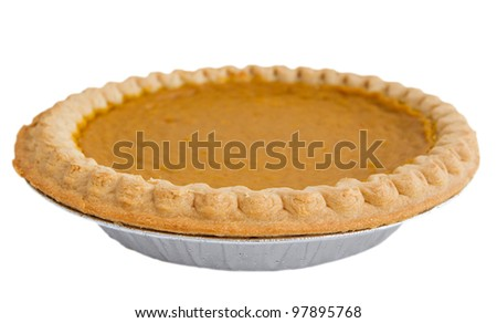 one whole pumpkin pie isolated over white - stock photo