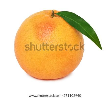 One whole ripe grapefruit with green leaf isolated on white background - stock photo