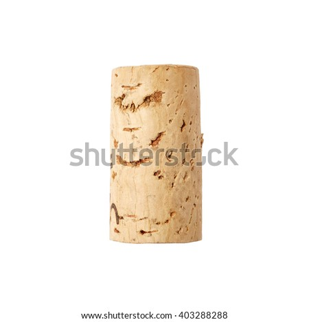 One wine cork isolated on white background - stock photo