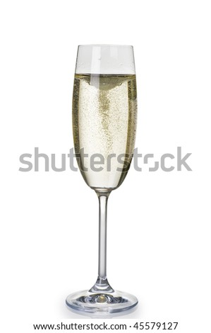 One wineglass of champagne isolated over white background