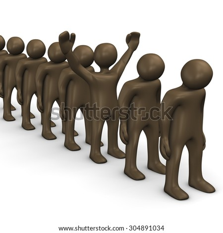 One winner and losers in a row, brown figurines - stock photo