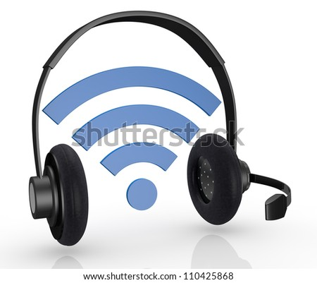 one wireless symbol with headphones and mic, concept of internet communications (3d render) - stock photo