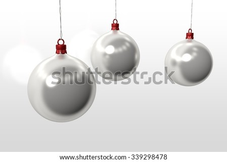 one without color christmas ball over white background - stock photo