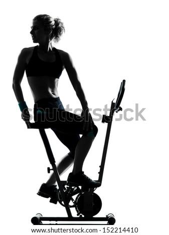 one woman biking exercising workout fitness aerobic exercise posture on studio isolated white background - stock photo