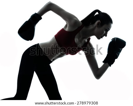 one  woman boxing exercising in silhouette studio isolated on white background - stock photo