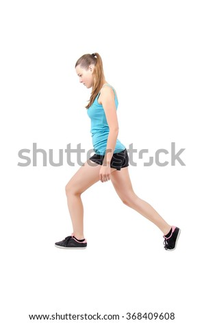 one woman exercising fitness workout lunges crouching on white background