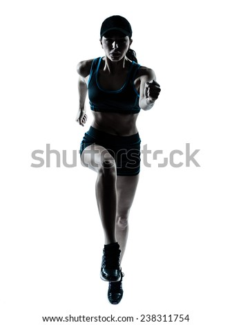 one  woman runner jogger jumping in silhouette studio isolated on white background