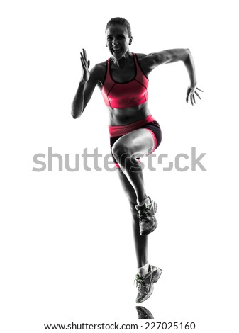 one  woman runner running jogger jogging in silhouette on white background - stock photo