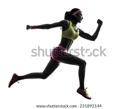 one  woman runner running jumping in silhouette on white background - stock photo