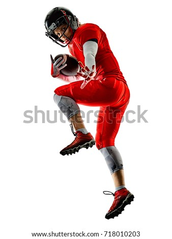 one woman teenager girl american football players  isolated on white background silhouette with shadows