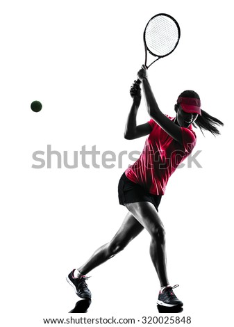 one woman tennis player sadness in studio silhouette isolated on white background - stock photo