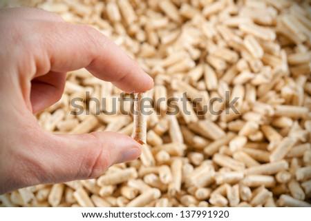 One wood pellet in hand on  pattern of wood pellets - stock photo