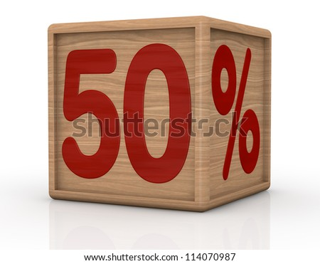 one wooden cube with the number fifty and the percent symbol (3d render)