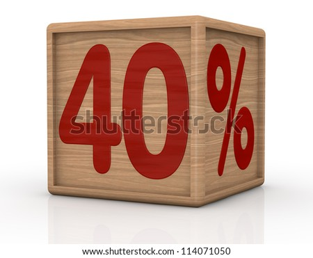 one wooden cube with the number forty and the percent symbol (3d render)